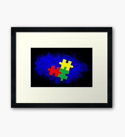 Autism Awareness Puzzle Blue Framed Print