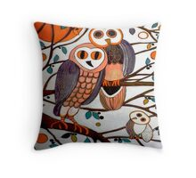 The Owl Family Throw Pillow