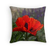 Red Orange Oriental Poppy Pillow - Artistically Enhanced Throw Pillow