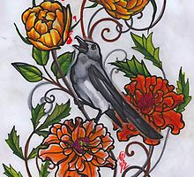 singing magpie in marigolds and roses by resonanteye