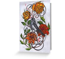 singing magpie in marigolds and roses Greeting Card