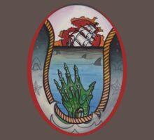 nautical tattoo; shipwreck and zombie sailor, sharks by resonanteye