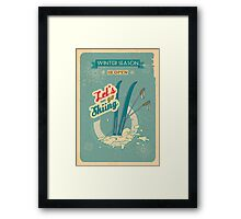 Let's go Skiing retro poster Framed Print
