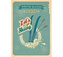 Let's go Skiing retro poster Photographic Print