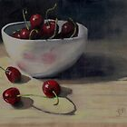 Still life with Cherries in White Bowl by Jaana Day