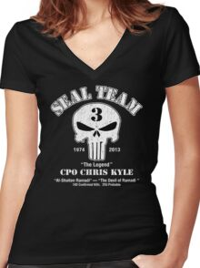 American Sniper Chris Kyle Punisher Women's Fitted V-Neck T-Shirt