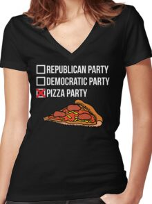Republican Party vs Democratic Party vs Pizza Party Women's Fitted V-Neck T-Shirt