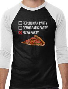 Republican Party vs Democratic Party vs Pizza Party Men's Baseball ¾ T-Shirt