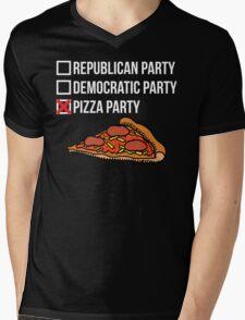 Republican Party vs Democratic Party vs Pizza Party Mens V-Neck T-Shirt