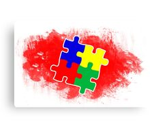 Autism Awareness Puzzle Red Canvas Print