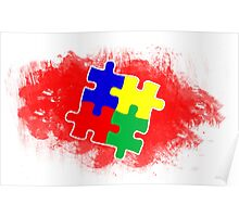 Autism Awareness Puzzle Red Poster