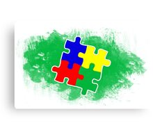 Autism Awareness Puzzle Green Canvas Print