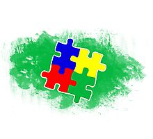 Autism Awareness Puzzle Green Photographic Print