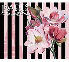 Parisian Pink Magnolias in Stripes, Eiffel Tower France Photographic Print