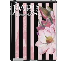 Parisian Pink Magnolias in Stripes, Eiffel Tower France iPad Case/Skin