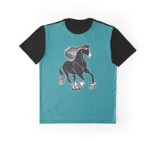 Black & White Horse with Teal Graphic T-Shirt