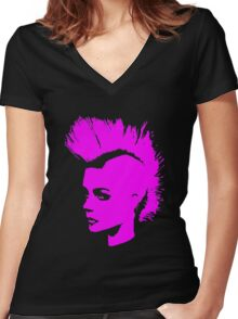Punk Girl – pink unichrome Women's Fitted V-Neck T-Shirt