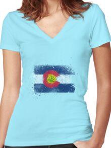 Colorado Flag Splatter w/ Cannabis Leaf Women's Fitted V-Neck T-Shirt