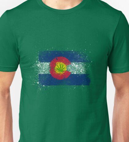 Colorado Flag Splatter w/ Cannabis Leaf Unisex T-Shirt
