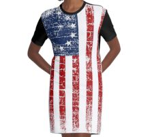 USA 13 Star 1776 Flag Graphic T-Shirt Dress