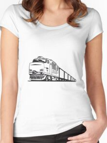 Freight railway locomotive Women's Fitted Scoop T-Shirt