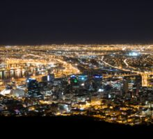 Cape Town by Night with Queen Mary 2 in Port Sticker