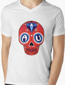 American University Sugar Skull Mens V-Neck T-Shirt