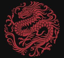 Traditional Red Chinese Dragon Circle by Jeff Bartels