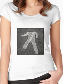 man crossing Women's Fitted Scoop T-Shirt