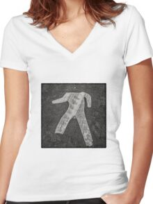 man crossing Women's Fitted V-Neck T-Shirt