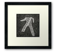 man crossing Framed Print