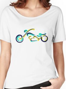 Motorcycle abstract  green blue Women's Relaxed Fit T-Shirt