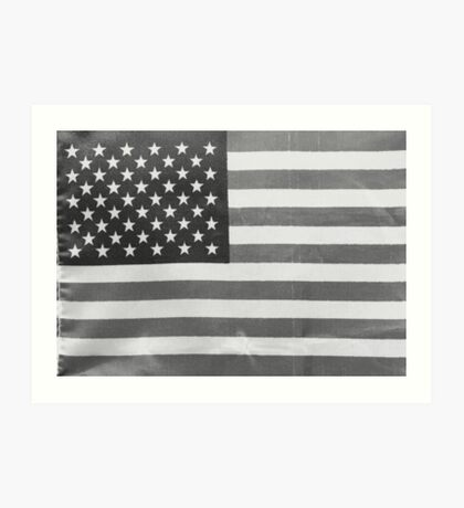 American Flag black-and-white  Art Print
