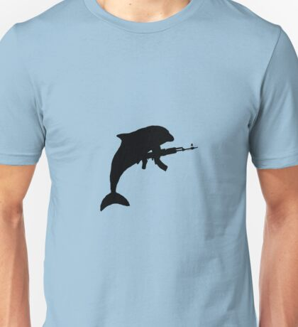 dolphin with ak 47 Unisex T-Shirt