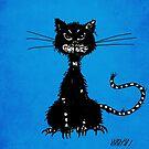 Blue Grunge Ragged Evil Black Cat by Boriana Giormova