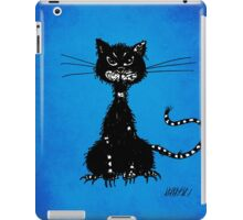 Blue Grunge Ragged Evil Black Cat iPad Case/Skin