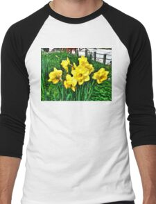 Shy Daffodils  Men's Baseball ¾ T-Shirt