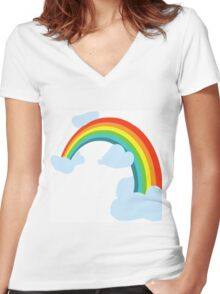 RAINBOW WITH CLOUDS Women's Fitted V-Neck T-Shirt