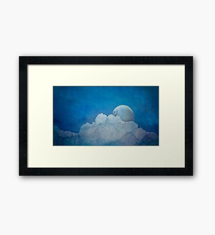 sitting on a cloud Framed Print