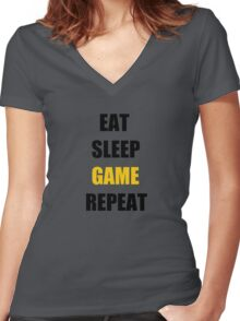 Eat, Sleep, Game. Women's Fitted V-Neck T-Shirt