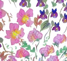 Sweet peas, violets and flowers bouquet. Sticker