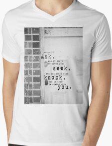 Ask Seek Knock Mens V-Neck T-Shirt