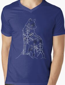 Snow Flake Wolf Mens V-Neck T-Shirt