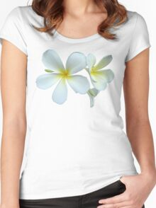 White and Yellow Frangipani Women's Fitted Scoop T-Shirt