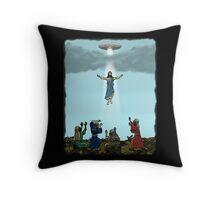 Jesus Rising Into UFO Throw Pillow