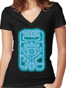 Breath of the Wild Sheikah Slate(Blue Glow) Women's Fitted V-Neck T-Shirt
