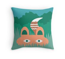 Hide and Seek Fox Illustration Throw Pillow