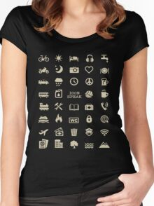 Cool Traveller T-shirt - Iconspeak T-shirt - 40 Travel Icons Women's Fitted Scoop T-Shirt
