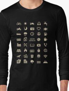 Cool Traveller T-shirt - Iconspeak T-shirt - 40 Travel Icons Long Sleeve T-Shirt