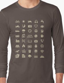 Cool Traveller T-shirt - Iconspeak T-shirt - 40 Travel Icons Long Sleeve T-Shirt